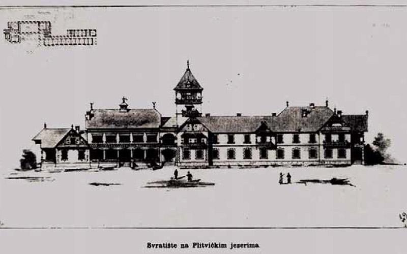 Progetto dell'Hotel Plitvice dell'arch. Dryak del 1894