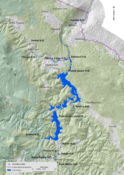 Network of hydrological stations in Plitvice Lakes National Park