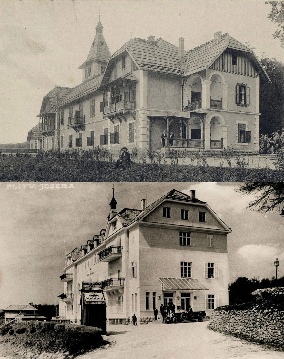 Slika 10. Hotel Plitvice oko 1900. godine i nakon dogradnje 1922. godine