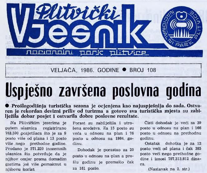 Slika 27. Plitvički vjesnik iz 1986.